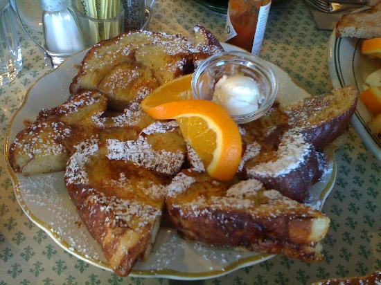 Cinnamon orange water brioche french toast with honey lavender